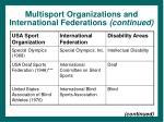 multisport organizations and international federations continued
