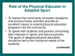 role of the physical educator in adapted sport