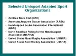 selected unisport adapted sport organizations