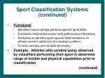 sport classification systems continued29