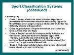 sport classification systems continued33