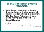 sport classification systems continued35