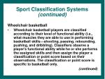 sport classification systems continued36