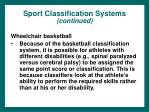 sport classification systems continued38