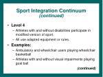 sport integration continuum continued13