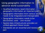 using geographic information to advance world sustainability