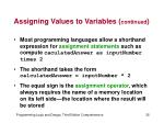 assigning values to variables continued