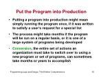 put the program into production