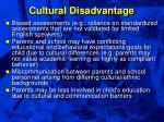 cultural disadvantage
