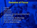 domains of focus
