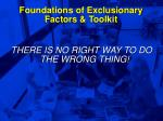 foundations of exclusionary factors toolkit