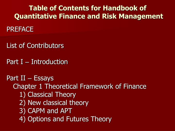 Table of contents for handbook of quantitative finance and risk management