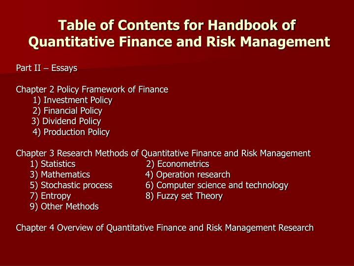 Table of contents for handbook of quantitative finance and risk management3