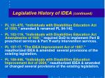 legislative history of idea continued