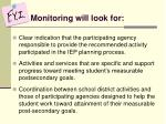 monitoring will look for