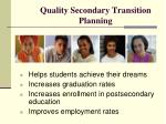 quality secondary transition planning