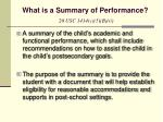 what is a summary of performance 20 usc 1414 c 5 b ii