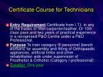 certificate course for technicians