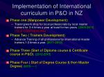 implementation of international curriculum in p o in nz