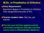 m sc in prosthetics orthotics