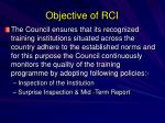 objective of rci