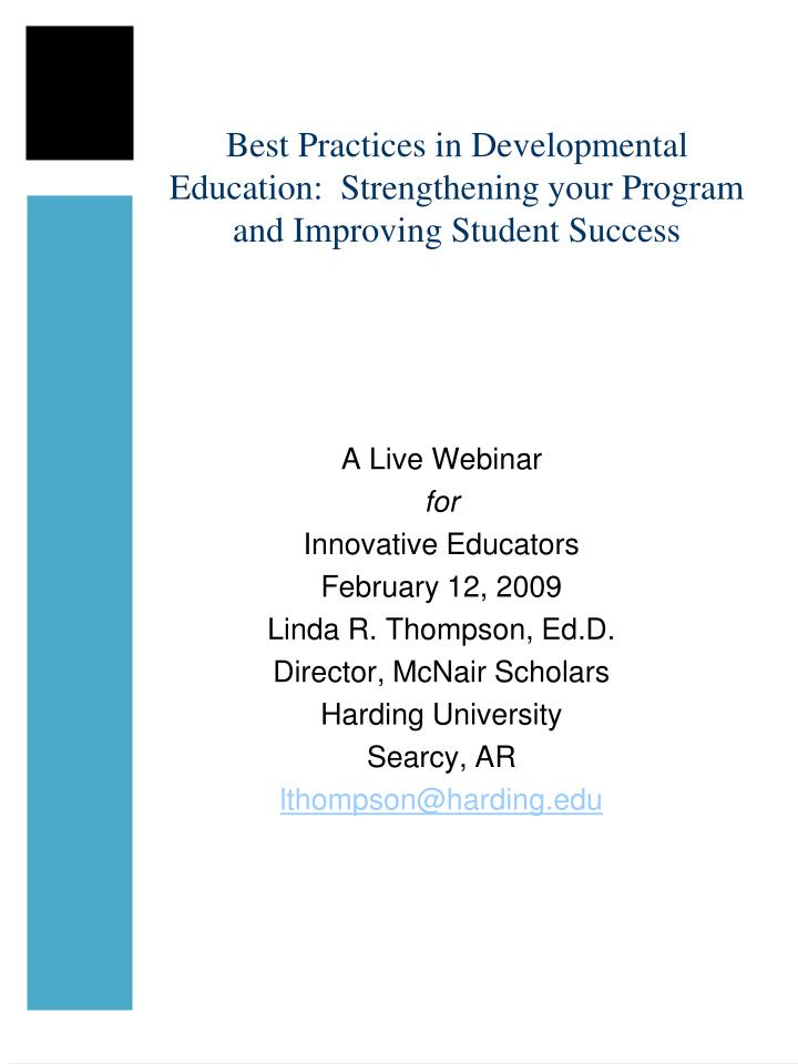 best practices in developmental education strengthening your program and improving student success n.