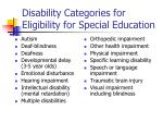 disability categories for eligibility for special education