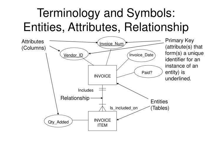 Terminology and symbols entities attributes relationship