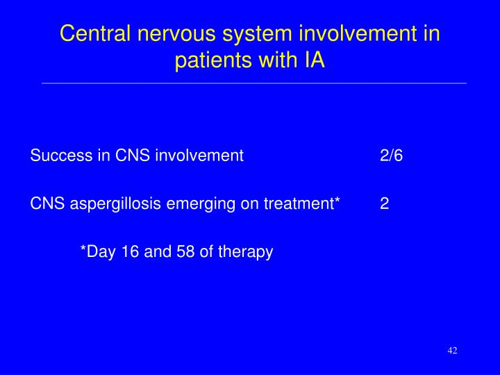 Central nervous system involvement in patients with IA