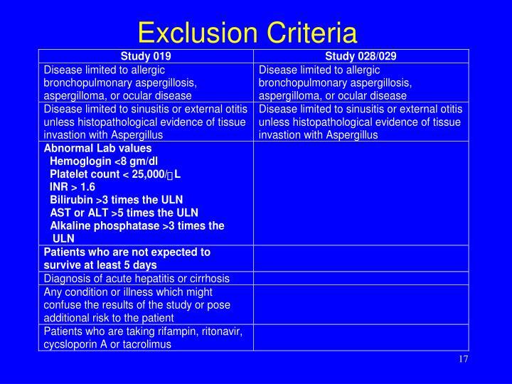 Exclusion Criteria