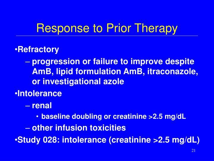 Response to Prior Therapy