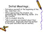 initial meetings