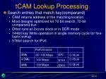 tcam lookup processing