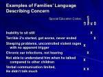 examples of families language describing concern