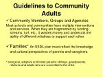 guidelines to community adults