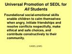 universal promotion of sedl for all students