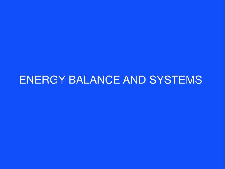 energy balance and systems n.