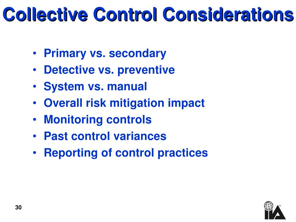 Collective Control Considerations