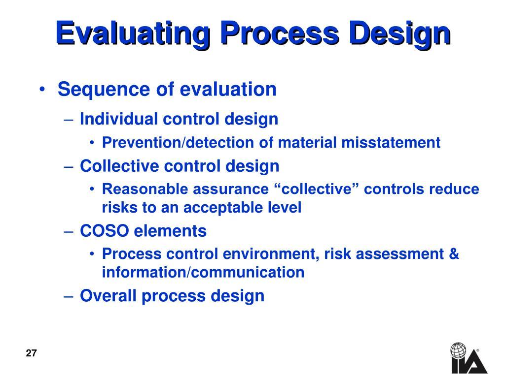 Evaluating Process Design