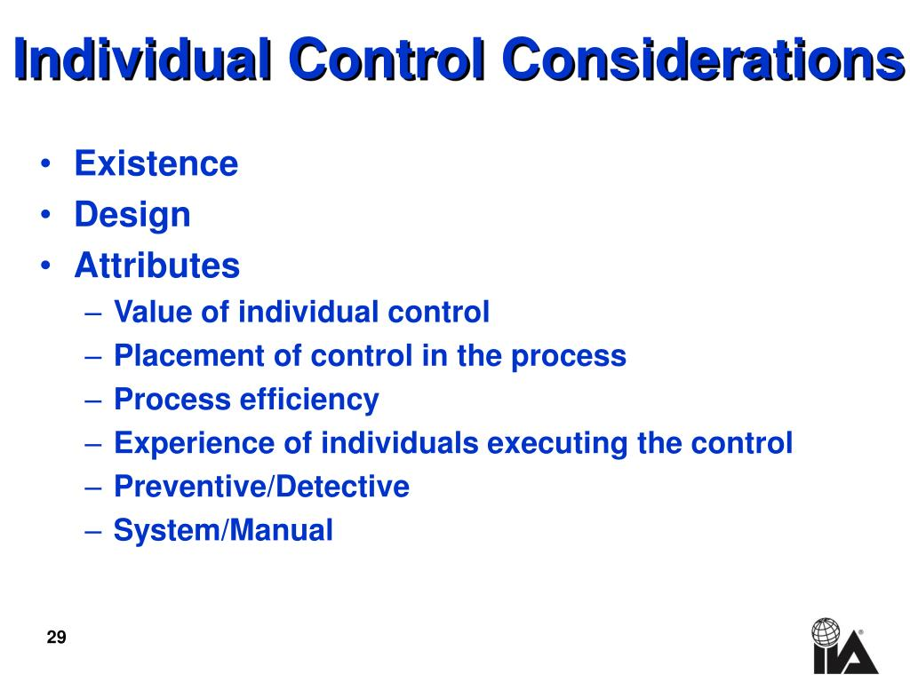 Individual Control Considerations