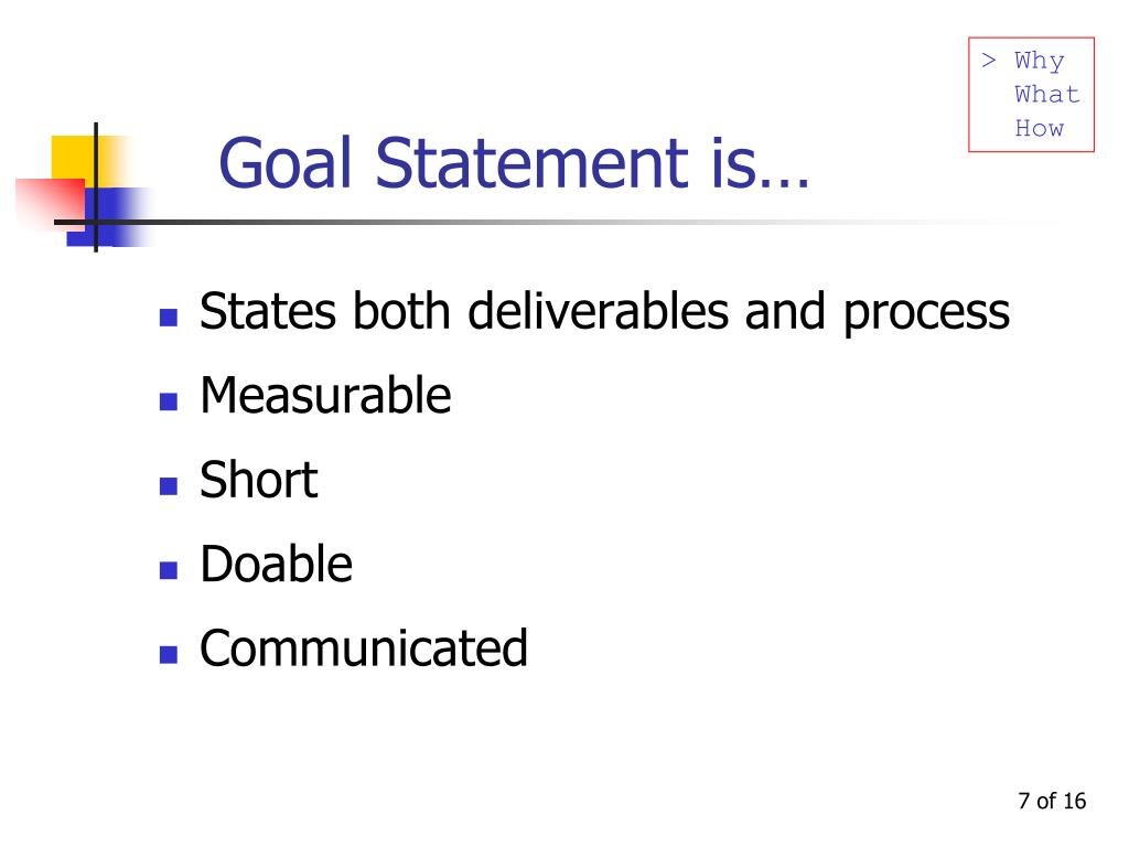 Goal Statement is…