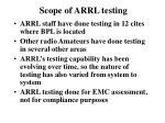 scope of arrl testing