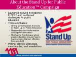 about the stand up for public education campaign