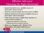 effective advocacy choosing the right messenger