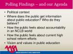 polling findings and our agenda