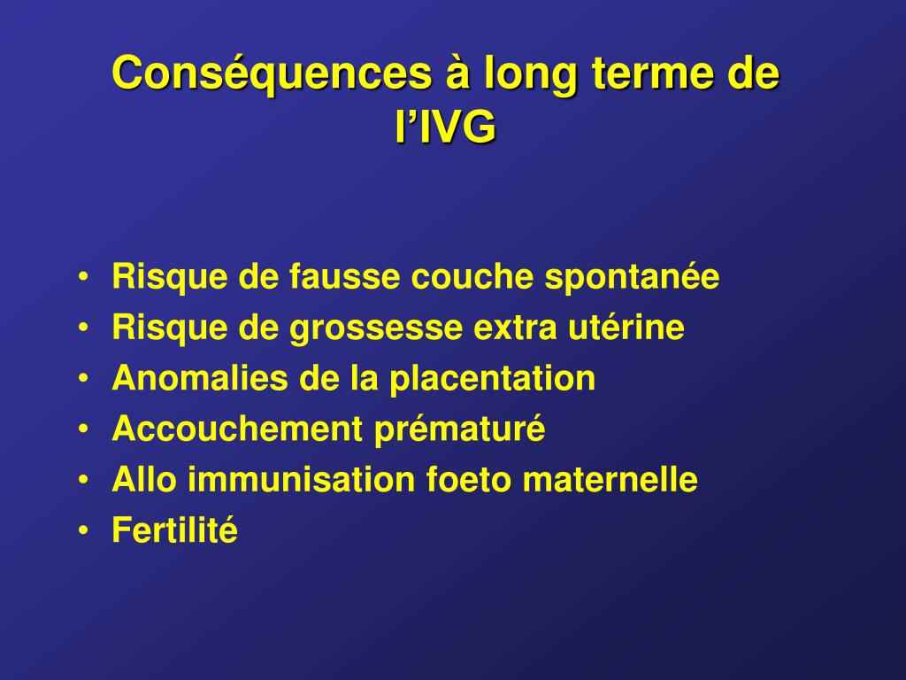 Conséquences à long terme de l'IVG