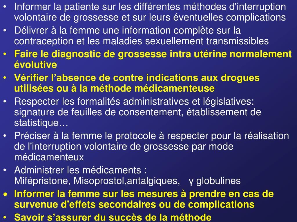 Informer la patiente sur les différentes méthodes d'interruption volontaire de grossesse et sur leurs éventuelles complications