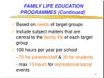 family life education programmes continued14