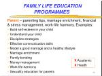 family life education programmes