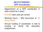mcys funding sfe coordinator